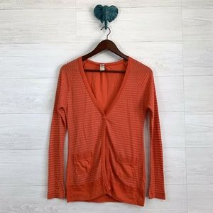 Free People Orange Striped Waffle Knit Cardigan